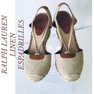 RALPH LAUREN TAN GOLD CALA LINEN WEDGE ESPADRILLES